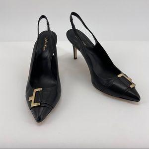 Calvin Klein Black Gold Buckle Slingback Galo Heel